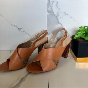 Ann Taylor Brown Leather Heeled Sandal